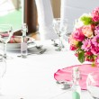 An image of tables setting at a luxury wedding hall — Stock Photo #48483553