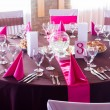 Pink and purple light wedding table — Stock Photo #49433865