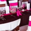 Pink and purple light wedding table — Stock Photo #49433995