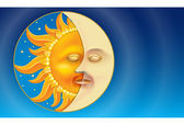 Sun and Moon (Day and Night) in low-relief style. — Stock Vector