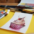 "Watercolor painting ""Sweet cupcake"" and the artist's accessories. — Stock Photo"