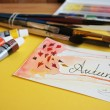 "Watercolor painting ""Autumn"" and the artist's accessories. — Stock Photo"