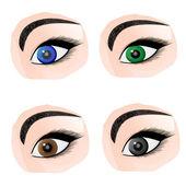 Juego de ojos de color diferente — Vector de stock
