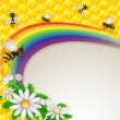 Flowers and bee over the rainbow and honeycombs — Stock Vector