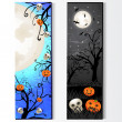 Vecteur: Halloween card with skeleton and pumpkin