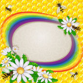 Daisy flower and bee over the honeycombs and rainbow background — Stockvector