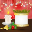 Stock Vector: Christmas card with candle and bell