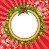 Flocos de neve dourados sobre fundo de Natal ramos — Vetor de Stock