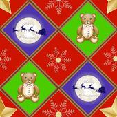 Navidad patern con oso de peluche y trineo de papá noel y reno sobre luna — Vector de stock