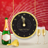 Clock for new year with champagne and bell — Stock Vector