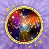 Golden clock for new year over fireworks background — Stock Vector
