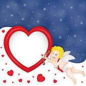 Cupidon with heart frame — Stok Vektör