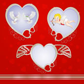 Golden heart frames with pigeons and cupid — Stock Vector