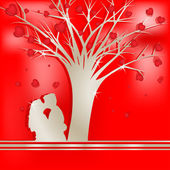 Tree of love with lovers silhouette — Stock Vector