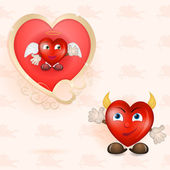 Godlen heart picture with cartoon hearts — Stock Vector