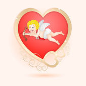 Golden heart with cupid isolated — 图库矢量图片