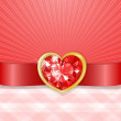 Valentines card with red diamond heart — Stock Vector