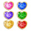 Stock Vector: Diamond hearts with different colors
