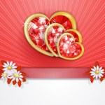 Three diamond hearts card — Stock Vector #40012071