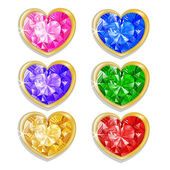 Diamond hearts with different colors — Stock Vector