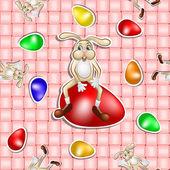 Padrão de Páscoa com o ovo e o coelho ao longo do fundo do cesto — Vetor de Stock