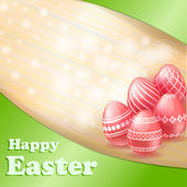 Easter red eggs card — Stock Vector