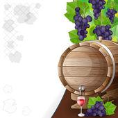 Trauben, fässer und glas wein — Stockvektor