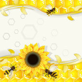 Sunflowers and bees over honeycombs background — Stok Vektör