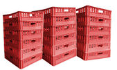 Three stack of plastic crates — Stock Photo