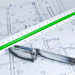 13-155Construction plan with pen and ruler. — Stock Photo