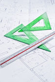 Construction plan with ruler and set square. — Stock Photo