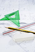 Construction plan with ruler, pencil and set square. — Stockfoto