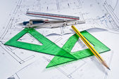 Construction plan with compass, pencil and set square. — Stock Photo