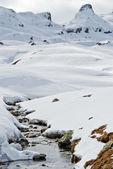 Mountain landscape with snow and river. — Stockfoto