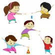 Stock Vector: Kids playing with firecracker