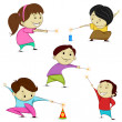 Kids playing with firecracker — Stock Vector