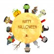 Creepy character wishing Happy Halloween — Imagen vectorial