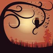 Owl Sitting on Tree in Halloween Night — Stock Vector