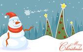 Snowman in Christmas night — Stock vektor