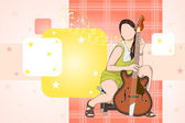 Lady with Guitar — Stock Vector