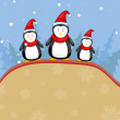 Penguine in Christmas Backgound — Stock Vector