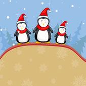 Penguine in Christmas Backgound — Stock Vector