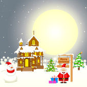 Christmas decorated House — Stock Vector