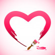 Brush Painting Heart — Stock Vector