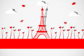 Eiffel Tower with Love Plant — Vector de stock