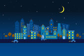 Paper City in Night view — Stock Vector