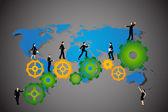 Business People walking on cog wheel — Wektor stockowy