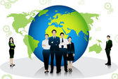 Business People standing in front of globe — Stock Vector