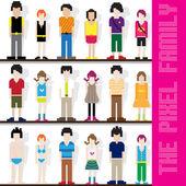 Pixel Family Character — Vetorial Stock