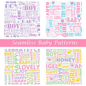 Baby Seamless Typography Pattern — Stockvektor